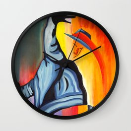 Thrill - Abstract painting of a dancing man in a hat Wall Clock