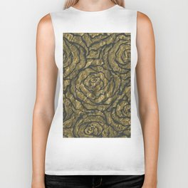 Intense Rose Print on Textured Canvas Biker Tank