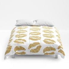 Gold Glitter Lips Comforters