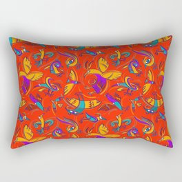 Pattern with Firebirds (on red background) Rectangular Pillow