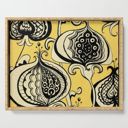 Black and Yellow Floral Serving Tray