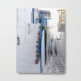 Charming White Stairs of Mykonos Metal Print
