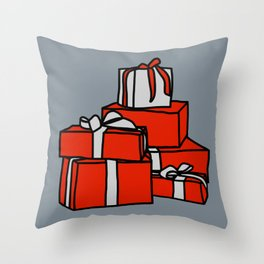 Red and Silver Wrapped Gift Boxes Throw Pillow