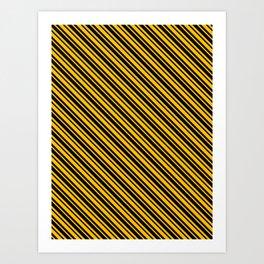 Amber Orange and Black Diagonal LTR Var Size Stripes Art Print