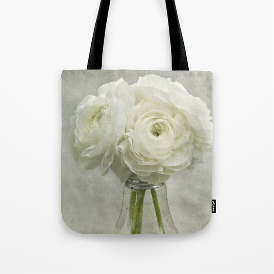 White on White Ranunculus Flower Bouquet -- Spring Botanical -- Floral Still Life Tote Bag