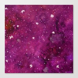 Watercolor galaxy - pink and purple Canvas Print