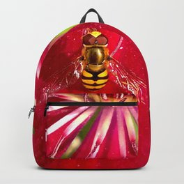 Flowers & bugs RED PASSION FLOWER & HOVERFLY Backpack