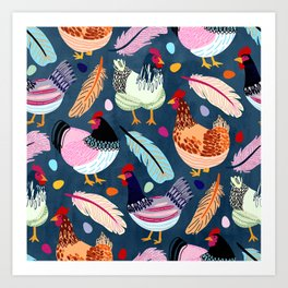 Trendy Chickens Art Print