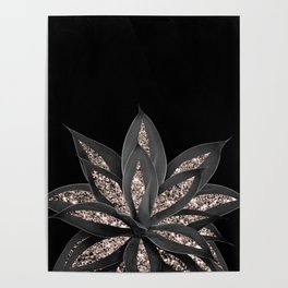 Gray Black Agave with Rose Gold Glitter #1 #shiny #tropical #decor #art #society6 Poster