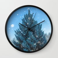christmas tree Wall Clocks featuring Christmas tree  by Svetlana Korneliuk