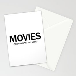 Movies. (Thumbs up if you agree) in black. Stationery Cards