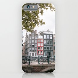 City Centre of Amsterdam, the Netherlands    Colourful travel photography wall art Cityscape Buildings Bridge Architecture iPhone Case