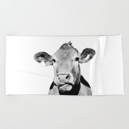 Cow photo - black and white Beach Towel