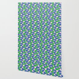 Blue and Green Graphic Abstract Dark Eyes Wallpaper