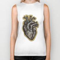 anatomical heart Biker Tanks featuring Anatomical Heart by Micaela Payne