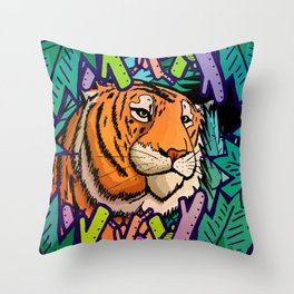 Tiger in the undergrowth Throw Pillow