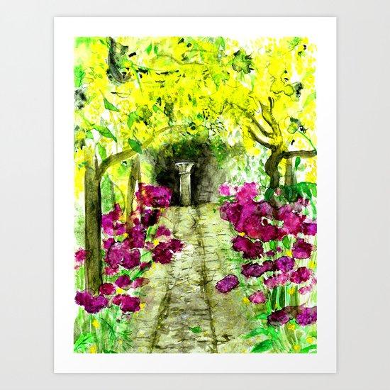Italian Garden Watercolour  Art Print