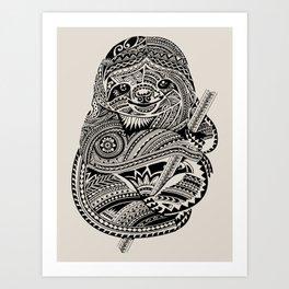 Polynesian Sloth Art Print