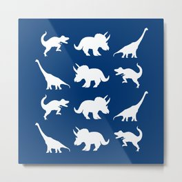 Blue and White Dinosaurs Metal Print
