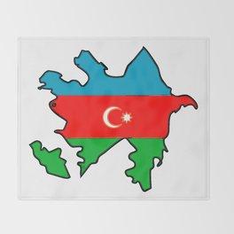 Azerbaijan Map with Azeri Azerbaijani Flag Throw Blanket