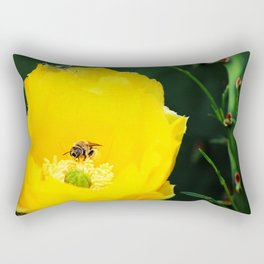 Cactus Flower, Bee and Grasshopper Rectangular Pillow