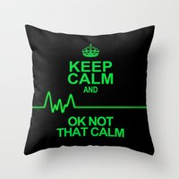 keep calm Throw Pillows featuring Keep Calm by Alice Gosling