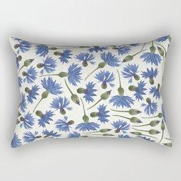 Vintage Pressed Flowers - Blue Cornflower Rectangular Pillow