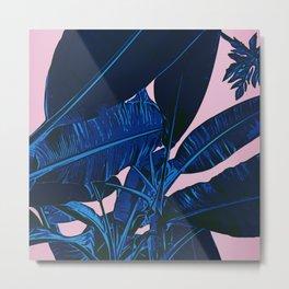 Midnight Blue Banana Leaves Metal Print