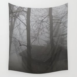 Forest Mist house I Trees I The Forest  Wall Tapestry