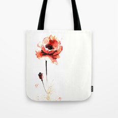 watercolor poppy Tote Bag
