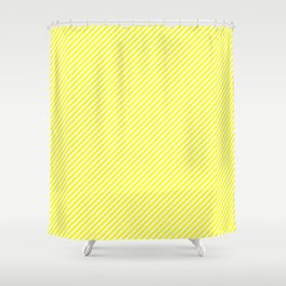 Mini Bright Fluorescent Yellow and White Candy Cane Stripes Shower Curtain