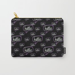 Hello Text Banner Motif Pattern Carry-All Pouch