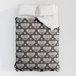 Cute koalas and pink hearts Comforters