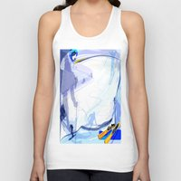 skiing Tank Tops featuring Downhill Skiing by Robin Curtiss