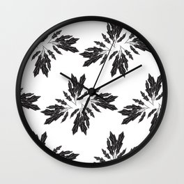 Black Leaves Pattern Wall Clock