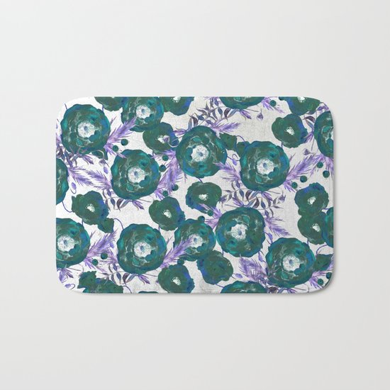 Abstract Poppy Pattern Green Bath Mat