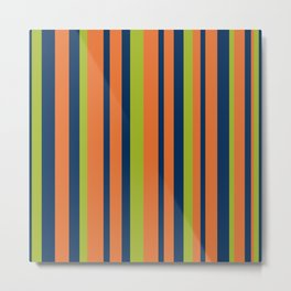 Vertical Stripes in Navy Blue, Orange, and Lime Green Pattern Metal Print