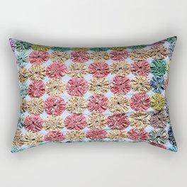 Pink  Yo Yo Quilt Rectangular Pillow