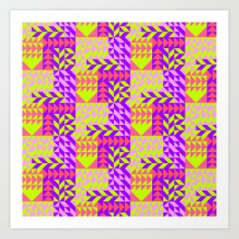 Geometrical abstract pink lilac neon yellow triangles pattern Art Print