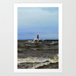 Storm Sandy Effects Menominee Lighthouse Art Print