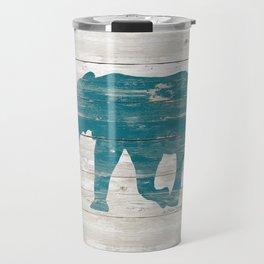 Rustic Teal Elephant on White Painted Wood A222a Travel Mug
