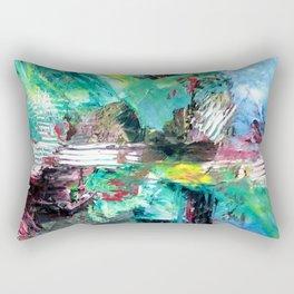 Blue Green Abstract Rectangular Pillow