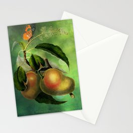 Bombay Mangos with Butterfly, Vintage Botanical Illustration Collage Art Stationery Cards