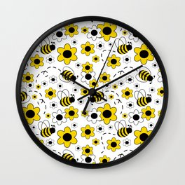 Honey Bumble Bee Yellow Floral Pattern Wall Clock