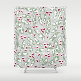 Winter Berries in Gray Shower Curtain