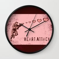 master chief Wall Clocks featuring Heart Attack - Master Chief - Halo by Canis Picta