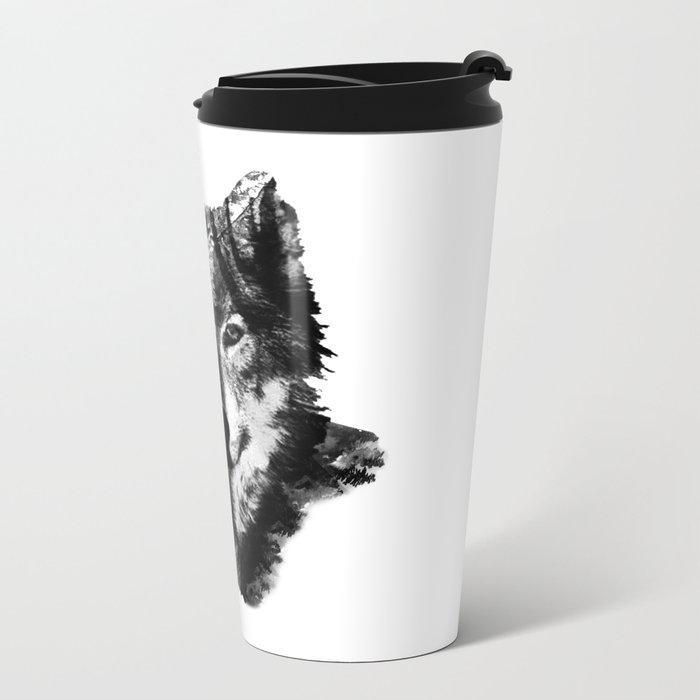 The Black Forest Wolf Metal Travel Mug