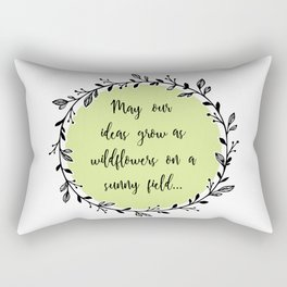 Spring Wildflowers Quote in Floral Wreath Rectangular Pillow
