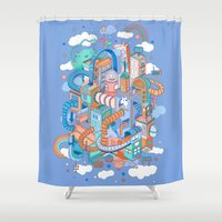 kpop Shower Curtains featuring George's place by Polkip
