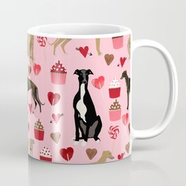 Greyhound valentines day cupcakes and hearts pet portrait custom dog person gifts greyhounds Coffee Mug